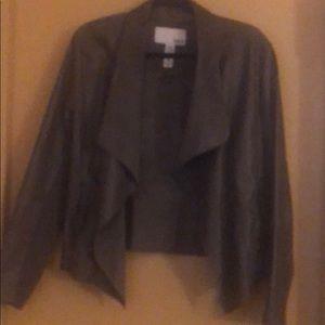 Taupe leather-like blazer